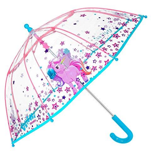 PERLETTI Einhorn Kinder Schirm für Mädchen - Stockschirm mit Sicherheitsöffnung - Robuster und Windfester Regenschirm mit Transparenter Kuppel - 3 bis 6 Jahre - Durchmesser 64 cm Cool Kids