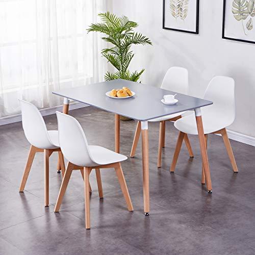 GOLDFAN Esstisch mit 4 Stühlen Küchentisch Wohnzimmertisch Holztisch Tisch Set für Wohnzimmer Küche Büro Grau Tisch und Weiße Stühle