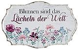 G.H. Vintage Retro Blechschild, Modell, Blumen lächeln, Material Metall, Maße 30 x 19 cm, Weiss, rot, ideal für Garten, Terrasse, Bar, Cafe, Cafeteria oder einfach Zuhause.