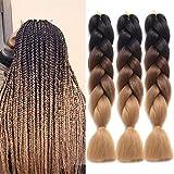 Ding Dian Ombre Braiding Hair Kanekalon Jumbo Braid Synthetic Braiding Hair 3Pcs/Lot Braid in Hair Extensions (Black-Dark brown-Light brown)