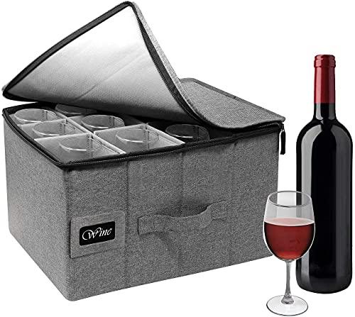 Sorbus Stemware Wine Glass Storage Hard Shell Box - Deluxe Padded...