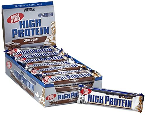 Weider 32147 Low Carb High Proteine Bar, Cioccolato, 24 barre da 50g
