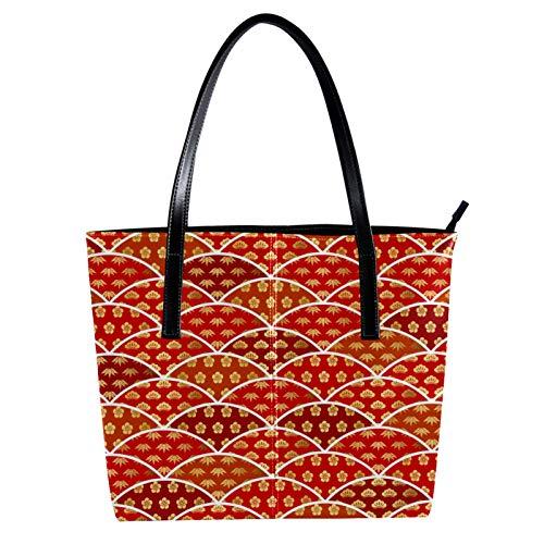 LORVIES - Bolso de mano para mujer con diseño de ciruela de bambú de pino