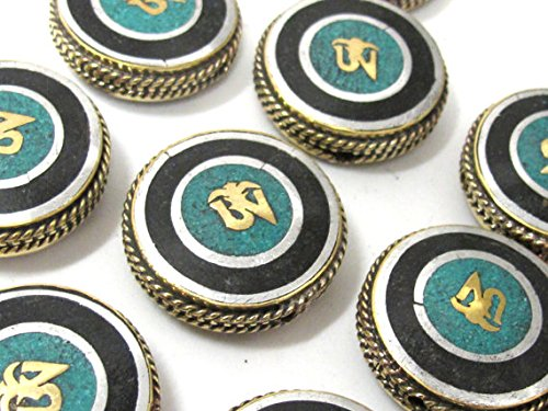 1 BEAD - Tibetan Om inscribed reversible brass bead with turquoise inlay 27 -28 mm - BD930