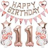 Ouceanwin 11 Cumpleaños Decoraciones Oro Rosa, Globos Numeros Gigante 11, Bandera de Globos Happy Birthday, Globos de Confeti, 11 años Fiesta de Cumpleaños Kit para Niñas y Mujeres