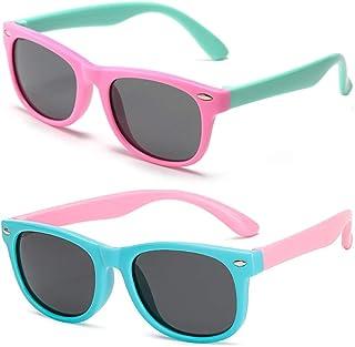 FANDE 2 stuks kinderzonnebril, gepolariseerde sportbril, flexibele kinderzonnebrillen, UV400-gecoate glazen, veilig, licht...