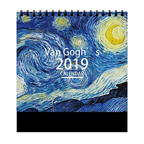 Simple y Creativo Nuevo Calendario de Escritorio 2019 Plan semanal Personalización de la decoración del Calendario mensual, Conjunto de Calendario de Escritorio (Color : B)