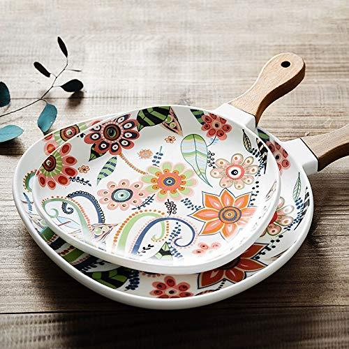 PPuujia Plato de cena nórdico de cerámica para postre con mango de madera, recipiente para alimentos, decoración del hogar, cuenco de frutas (color: C)