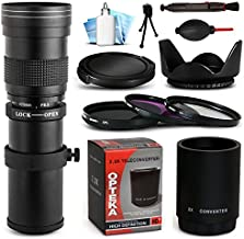 Opteka 420-1600mm f/8.3 HD Telephoto Zoom Lens Bundle Package includes 2X Teleconverter + 3 Piece UV-CPL-FL Filters + Tulip Hood + Cap Keeper + Snap On Lens Cap + Air Dust Blower + Lens Pen + Cleaning Kit for Canon EOS 5D Mark II III 2 3 5DM2 5DM3, 1D Mark 3 4 III IV 1Dx 1D X, 6D, 7D, 60D, 60Da, 70D, 100D, 550D, 600D, 650D, 700D, 1100D, 1200D, Rebel SL1, T2i, T3, T3i, T4i, T5, T5i, Kiss X4, X5, X6i, X7i, X50, X70 DSLR SLR Digital Camera