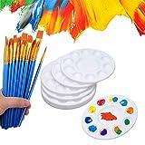 50 pinceles de pintura con 12 bandejas de palé de pintura para niños y adultos para crear pintura artística