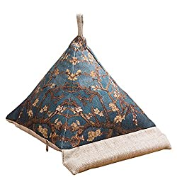 Triangle pillow book and tablet holder with heavy bean filling for extra stability