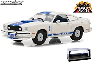Diecast Car w/LED Display Case - 1976 Ford Mustang II Cobra II, Charlie's Angels - Greenlight 86516 - 1/43 Scale Diecast Model Toy Car