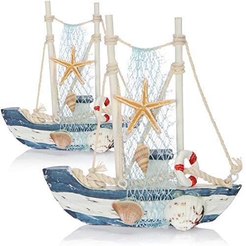 com-four® Maritimes Deko Schiff aus Holz - Fischkutter mit Fischernetz und Muscheln - Holzschiff zur Dekoration - Nautische Deko Segelboot (02 Stück - Fischerboot 13cm)