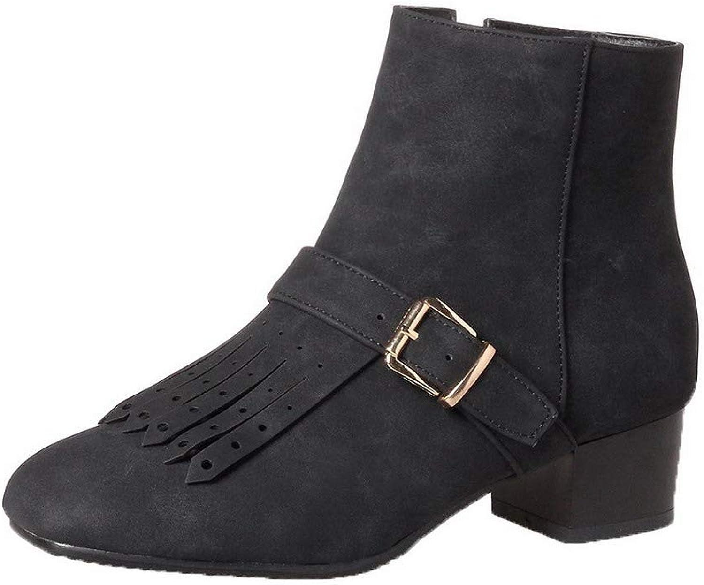 WeenFashion Women's Zipper Closed-Toe Low-Heels Pu Low-Top Boots, AMGXX121378