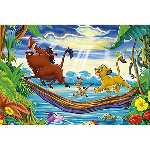 Jqchw Rompecabezas animado de la historieta rey león Simba cartel Juego de Puzzle 1000 piezas de madera del rompecabezas de madera for adultos Jigsaw Puzzle niños descompresión Juguetes educativos Puz
