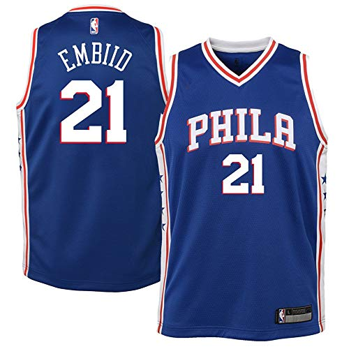 Youth Philadelphia 76ers #21 Joel Embiid Royal Swingman Jersey M