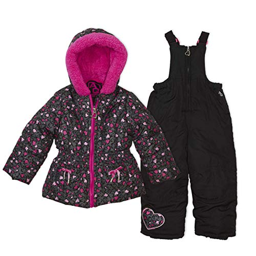 Arctic Quest Infant Girls Leopard Print Puffer Jacket with Fleece Lined Hood and Snow Bib Pants Set, Hot Pink & Grey, 18M