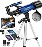 Emarth Telescope, Travel Scope 70mm/360mm Astronomical Refracter Telescope with Tripod & Finder Scope, Portable Telescope for Kids Beginners Adults (Blue)