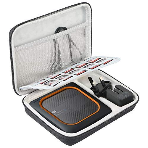 Khanka Tasche Hülle Case Für WD My Passport Wireless SSD 256GB/ 512GB/ 1TB/ 2TB Externe Festplatte und SanDisk microSDXC Speicherkarte. (Schwarz/Weiss)