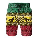 QUEMIN Patrón Tradicional Africano Lions Rasta Jamaica Patrón Tradicional Africano Lions Rasta Jamaica Shorts de baño para Hombre Bañador de Secado rápido con Forro de Malla, Talla L