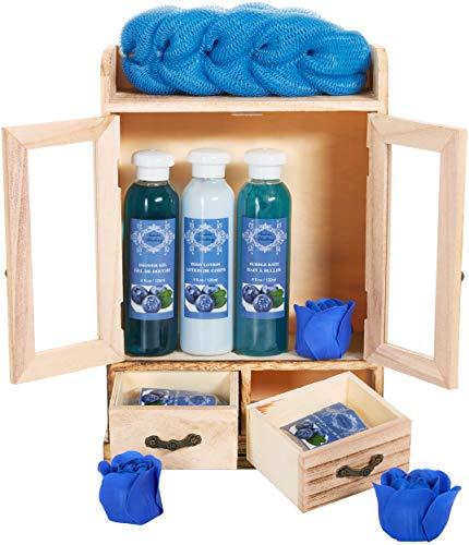 BRUBAKER Cosmetics Bade- und Pflegeset Blaubeere im Holzschrank