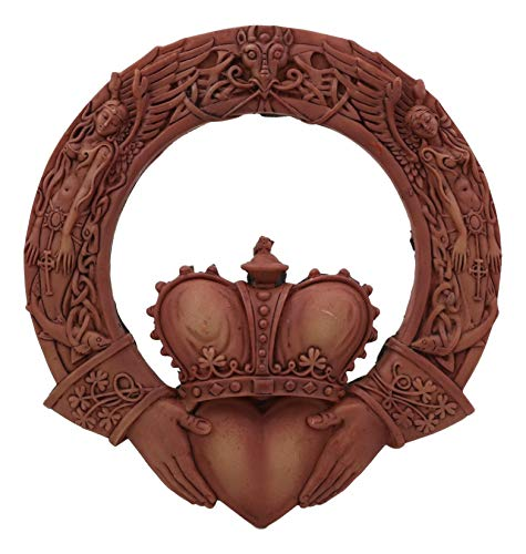 Ebros Royal Celtic Claddagh Ring Wall Plaque Figurine As Symbol Of Love Friendship Loyalty Home Hanging Art Decor Sculpture (Rustic Clay)