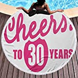 Round Beach Throw Towel 30th Birthday Round Tapestry Wall Hanging Cheerful and Happy Special Celebration Image Stylized Icon in Hot Pink Color Use for Kids Women Men Boy Girl Pink White (Diameter 59')
