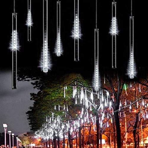 Outdoor Lights,LED Meteor Shower Rain Lights, Waterproof Garden Lights 30cm 8 Tubes 144leds Snow Falling Raindrop Icicle Cascading Light for Holiday Wedding Xmas Tree Decor (White)