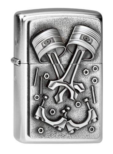 Zippo Feuerzeug 2003987 Engine Parts Benzinfeuerzeug, Messing, Edelstahloptik, 1 x 3,5 x 5,5 cm