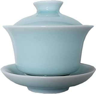 Gaiwan Kung Fu Teacups with Lid 5-Ounce Porcelain Chinese Celadon