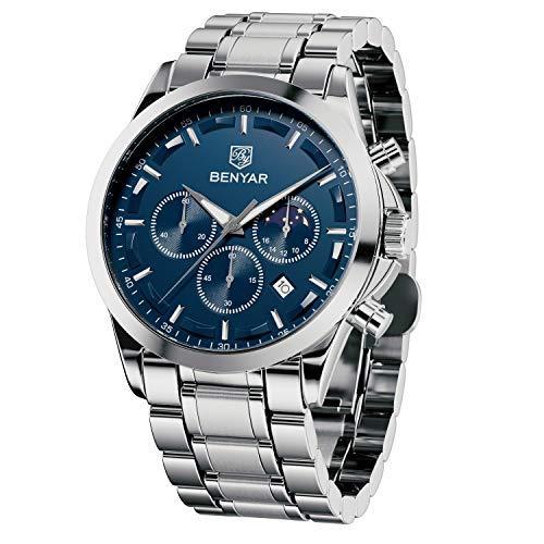 BENYAR Herrenuhr Chronograph Edelstahl Analoge Quarzuhr 31M wasserdichte Anti-Kratzer-Uhr Silver Date Business Watch