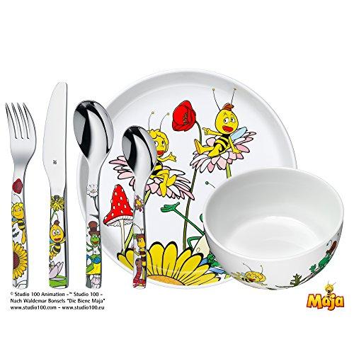 WMF La abeja Maya - Vajilla para niños 6 piezas, incluye plato, cuenco y cubertería (tenedor, cuchillo de mesa, cuchara y cuchara pequeña) (WMF Kids infantil)