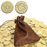 Byhoo - 50 Monedas DND -Monedas de fantasía y Bolsa de Cuero - Fichas de Metal para Juegos de Mesa - Juego de Mesa RPG - Accesorios de Juego de Mesa Dungeons and Dragons