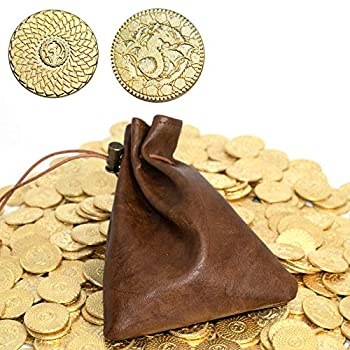 50 DND Coins Fantasy Coins & Leather Bag Metal Tokens Game Coins for Board Games Table RPG Board Game Accessories Golden Suit for Dungeons & Dragons Medieval Game Retro DND Props