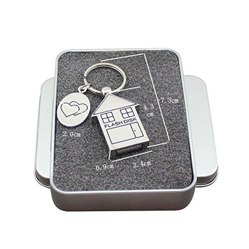 FeliSun Memoria Flash USB 3.0 16GB 32GB 64GB Metal Forma de La Casa Memoria USB Drive USB Key para PC, Televisión, Coche (16GB)