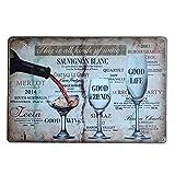 Mopoin Cartel de chapa retro para vino tinto y cerveza (20 x 30 cm)