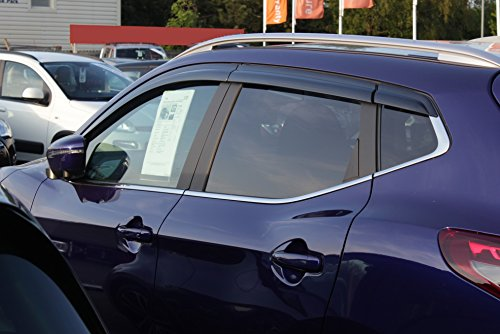 Autoclover - Set di deflettori d\'aria per Nissan Qashqai 2014 + (6 pezzi), colore: fumé