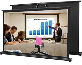 WZHZJ 50 Inch 16:9 Portable Tabletop Projection Screen Matte White Foldable Table Projector Screen for Business Travel Cinema