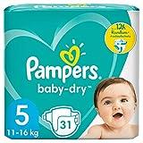 Pampers Baby-Dry Größe 5, 31 Windeln, bis zu 12Stunden Rundum-Auslaufschutz, 11-16kg