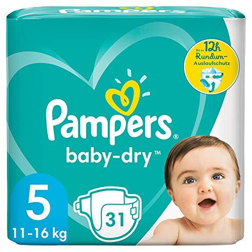 Pampers Baby-Dry Größe 5, 31 Windeln, bis zu 12Stunden Rundumschutz, 11-16kg