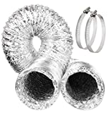 Omont Flexible Air Duct Hose, 4 Inch 10 Feet Non-Insulated Air Aluminum Foil Ducting Dryer Vent Hose for HVAC Ventilation, 2 Clamps Include, Great for Kitchen, Bathroom, Grow Tents, Dryer Rooms