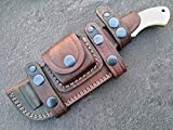 Ottoza Custom Handmade Damascus Tracker Knife with Bone Handle - Survival Knife - Camping Knife - Damascus Steel Knife - Damascus Hunting Knife with Sheath Horizontal Fixed Blade Knife No:115