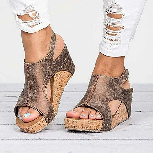 LINGZE Sandalias Bohemias Modernas Zapatos de cuña para Mujer Tacones Sandalias Mujer Zapatos de Verano Zueco Alpargatas para Mujer Sandalias para Mujer (Color: Brown, Size: 36EU)