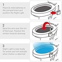 Toilet Light - Toilet Bowl Motion Detection Light - Inside Glow Bowl - Night Light LED - PIR Motion Activated Sensor - Colour Changing Seat Light - Olixar
