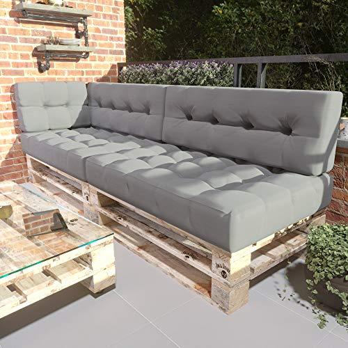 MSS® 5er-Set Relax Palettenkissen Palettenposter Palettensofa Anthrazit hell & dunkel