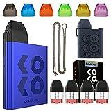 Uwell Caliburn KOKO POD(カリバーン ココ) + 交換用カートリッジ1箱(1.2Ω×4個)、シリコンケース、ドリップチップ(6色ライトカラー版) (ブルー, ブラック)