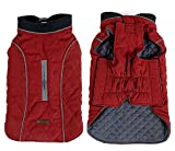 PENIVO 6 Couleurs vêtement pour Chien vêtements de Chien imperméable Hiver vêtements Chauds Manteaux réversibles pour Petit Moyen Grand Chien (L, Rouge)