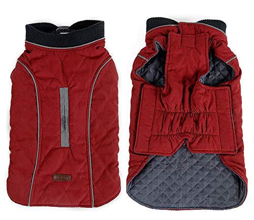 Penivo 6 Farben Haustier Jacke Hundebekleidung Wasserabweisend Winter Warme Kleidung Weste Reversible Winterjacken Mäntel für Kleine Mittelgroße Hund (XS, Rot)
