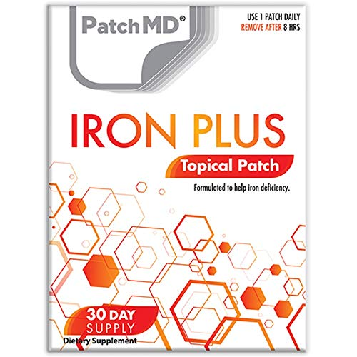 PatchMD Iron PlusTM - 30 daily topical patches. 100% natural & cruelty free. No constipation. Allergy & filler free. High absorption more bioavailable. Suitable for sensitive stomachs & bariatric.