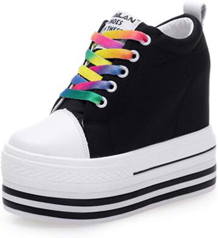 ASO-SLING Women's Height Increasing Platform Wedge Sneakers Water-Resistent Casual Lace Up Hidden Heel shoes